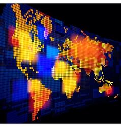 Luminous world map vector image
