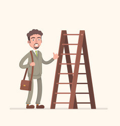 man walking up the staircase with briefcase vector image