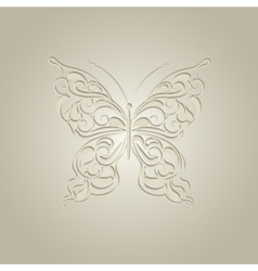 Paper butterfly with vintage pattern vector image vector image