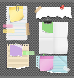 Paper sheets with stationery set vector