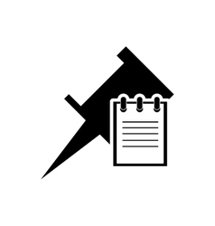 Pin and notepad icon vector image