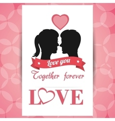 Postcard love couple together forever with pink vector