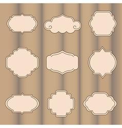 Set of labels on a light brown background vector image