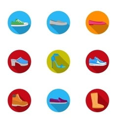 Shoes set icons in flat style big collection of vector