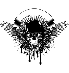 skull in goggles and helmet on grunge splash vector image