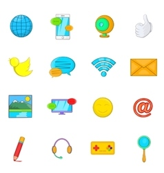Social media icons set cartoon style vector image