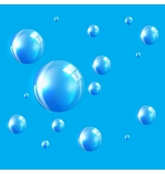 Transparent bubbles on blue background vector