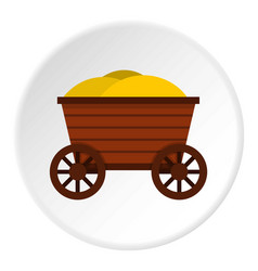 Vintage wooden cart icon circle vector