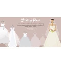 Wedding dress web banner fashionable bride vector