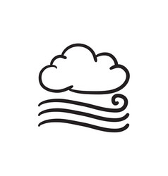 Windy cloud sketch icon vector