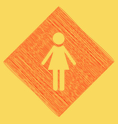 Woman sign red scribble icon vector