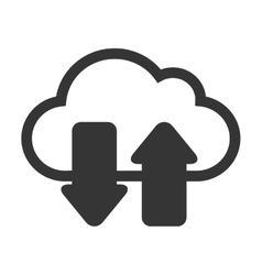 cloud arrows black isolated vector image