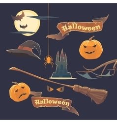 Set of stickers and elements happy halloween vector