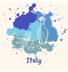 Italian emotive motive with culinary attractions vector