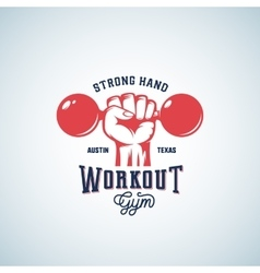 Strong hand workout abstract emblem label vector