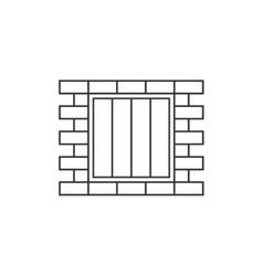 Jail window line icon vector