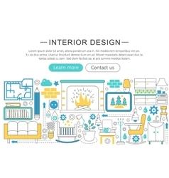 Modern line flat interior design decor vector