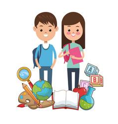 kids student school supplies tools vector image