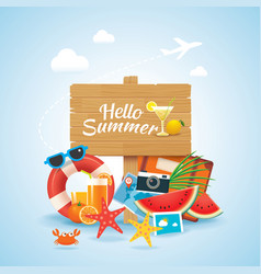 Hello summer time travel season banner design vector