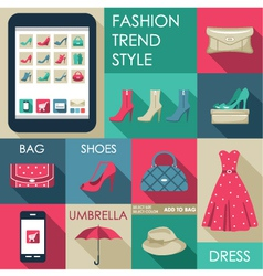 Set of flat design fashion icon for web and mobile vector