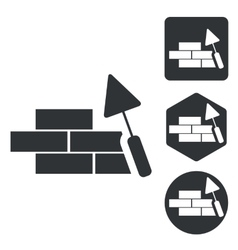 Building wall icon set monochrome vector