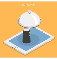 Dish delivery flat isometric vector