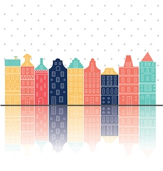 Amterdam houses reflection pastel color vector