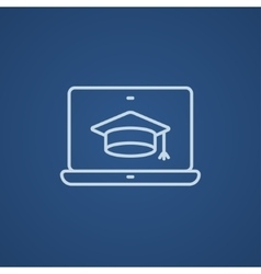 Laptop with graduation cap on screen line icon vector
