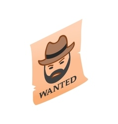 Vintage wanted poster isometric 3d icon vector