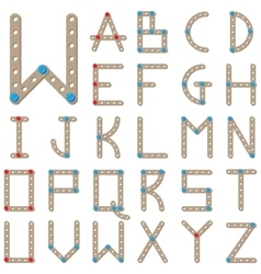 Latin alphabet made of wooden meccano vector