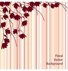 Dark magnolia branches on pink striped background vector