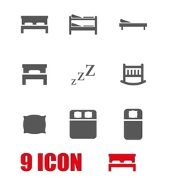 Grey bed icon set vector
