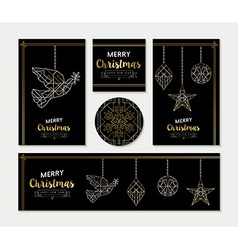 Gold christmas greeting card template set vector