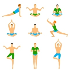 Set with a handsome man in various poses of yoga vector
