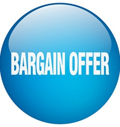 Bargain offer blue round gel isolated push button vector
