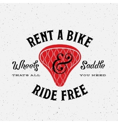 Bike rental retro label or logo template vector