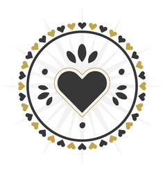 Black and golden circle heart border icon vector