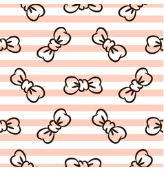 Bowknots on striped pink and white seamless vector