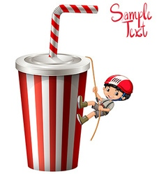 Boy climbing up plastic cup vector