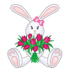 Bunny with bouquet of tulips vector