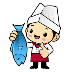 chef character and best fish isolated on white vector image