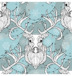 Christmas deer head doodle with lighting bulb vector image vector image
