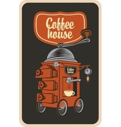Coffee grinder in a retro style vector