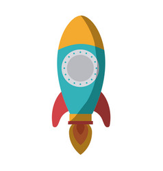 Colorful silhouette of space rocket without vector