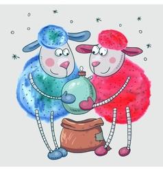 Cute sheep with Christmas ball vector image vector image