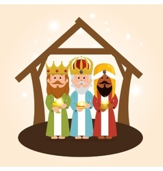 cute three wise kings manger vector image
