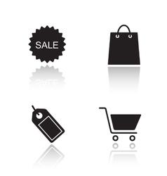 E-commerce drop shadow icons set vector