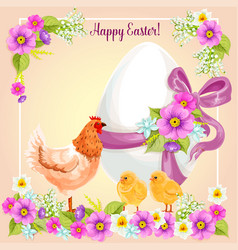 Easter greeting card flowers paschal egg vector