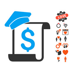 Education invoice icon with valentine bonus vector