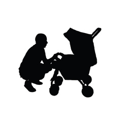 Father with a baby carriage vector